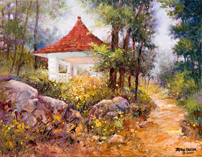 painting of trail scene. Gray boulders fill the lower left portion. Above them is a patch of yellow flowers in front of the red tile roofed white trail shelter. The  tree-lined trail is brown and is on the right side of the picture.
