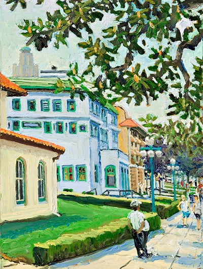 painting of Bathhouse Row showing south corner of the Hale Bathhouse, the Maurice Bathhouse, and the Fordyce Bathhouse. There are people on the sidewalk and a magnolia branch hanging in the upper right corner