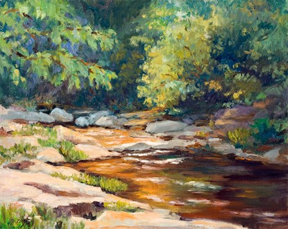 color painting of creek with brown rocks on either side and trees lining the sides and the creek disappears into a dark green background; the lower left side is shady.