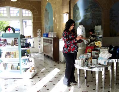Two women shop in the park store.