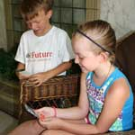 Young white boy on left, young white girl sitting in right foreground, both holding and looking at trading cards