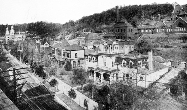 View of Bathhouse Row from Cutters Guide to Hot Springs, early 1900s.