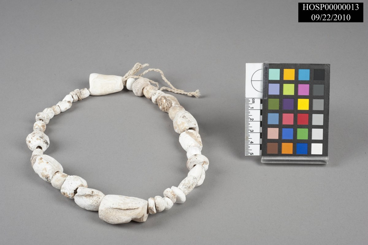 Shell beads from an Archaeology dig formed into a necklce