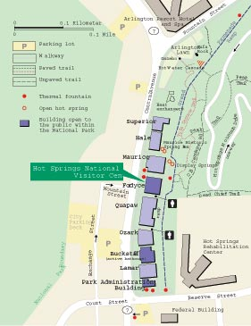 map of bathhouse row that also shows hot spring water fountains