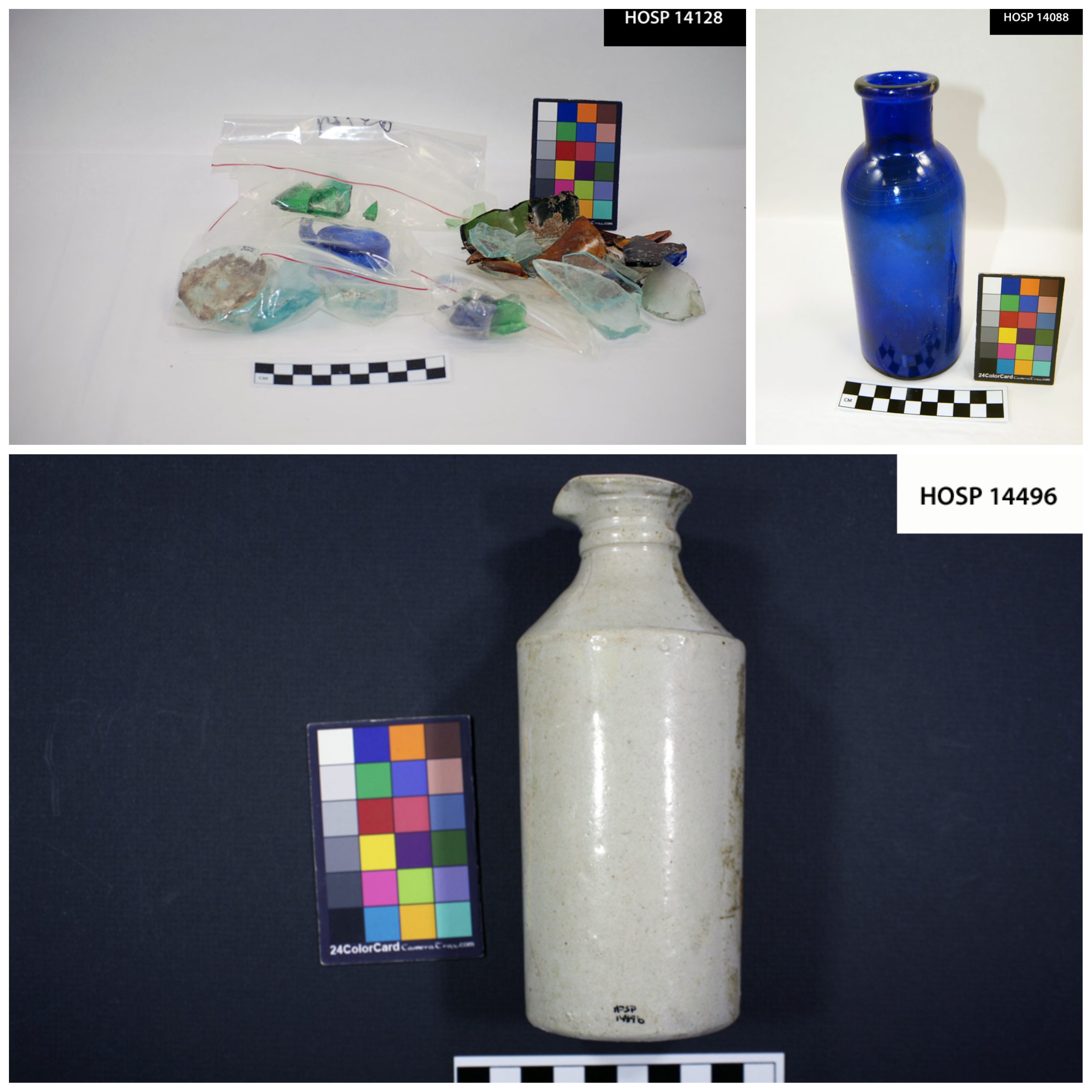 Three images of types of glass: glass chards, a blue glass bottle, and a stoneware bottle