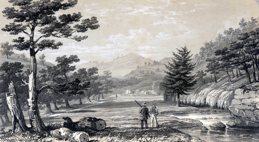 Lithograph of 2 men in a field overlooking a valley of vapors