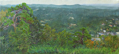 View from Hot Springs Mountain overlook, showing city buildings on the right, trees in the left foreground and green hillsides in the background.