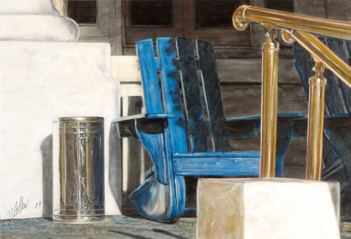 painting of blue Adirondack chair on Buckstaff Bathhouse porch in center with portion of brass hand rail on right and gleaming chrome ash and trash can to the left of the chair
