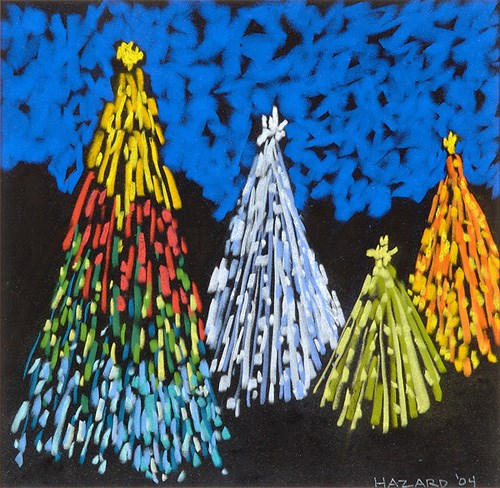 painted on black velvet, shows Christmas trees in bright colors with royal blue upper half; far left Christmas tree is gold at top, then red, green and blue and is the tallest; next tree to right is light blue and is about a third shorter; next one to left is green and shorter still and on far right is an orange one
