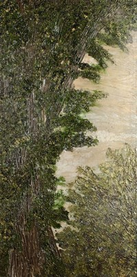 A vertical painting of an evergreen tree on the left and a round shaped tree on the right, the original painting is very glossy, but dark
