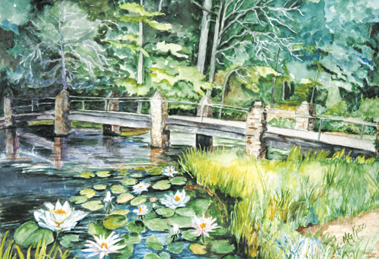 watercolor painting with white water lilies in the foreground and bridge in the center, trees in the background. The bridge is made of stone supports, hence the name Stonebridge Road.