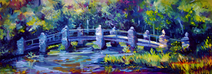 oil on canvas painting of the arched stone bridge that goes over a narrow pond; the bridge has a blue tone with green trees in the background and red grasses adding color to the right foreground