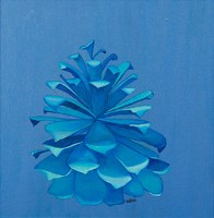 blue pine cone on blue