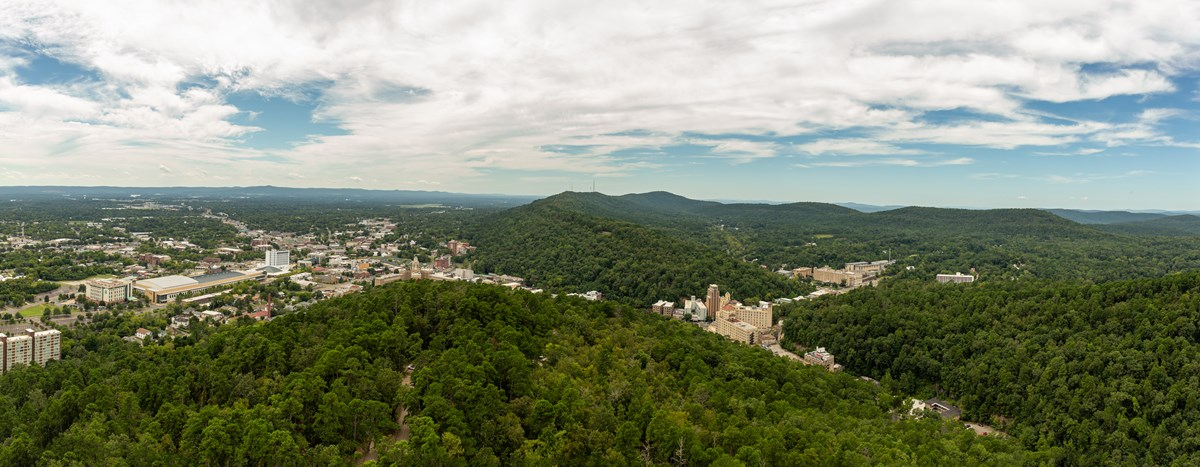 The city of Hot Springs and the surrounding Ouachita Mountains can be seen all together from the op of the mountain tower