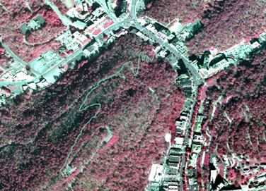 closeup of aerial infrared map with Canyon Trail outlined in aqua