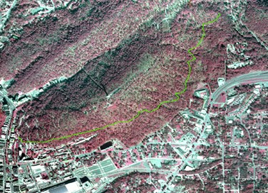 infrared aerial map with Dead Chief Trail marked in green