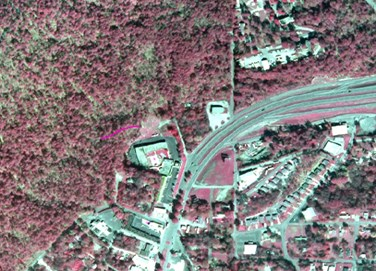 infrared aerial map with Grand Avenue trail drawn in pink