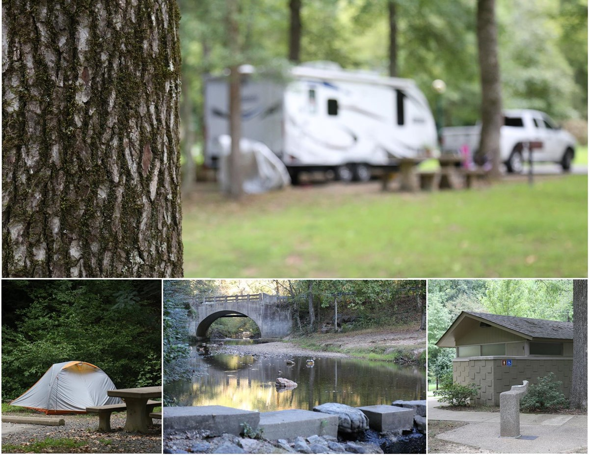 Photo collage of Gulpha Gorge Campground showing RV's, tents, restrooms, and the creek
