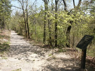 Early spring shot of gravel tree lined trail on left side with the brown trailhead sign on a post of the right