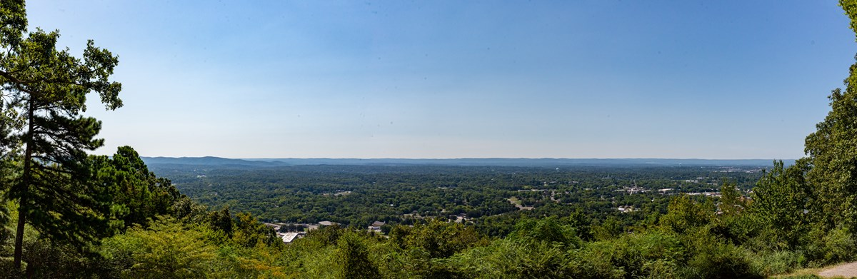 Panoramic view on top of Hot Springs Mountain overlooking the city of Hot Springs