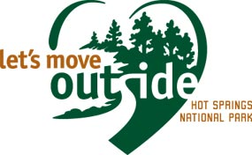 Let's Move Outside logo for Hot Springs National Park: a green heart shape with let's move in gold on the left side and outside in the heart, with the s forming a trail into the trees in the heart.