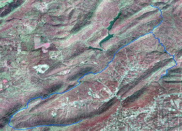 portion of infrared aerial photo of park with Sunset Trail drawn in blue