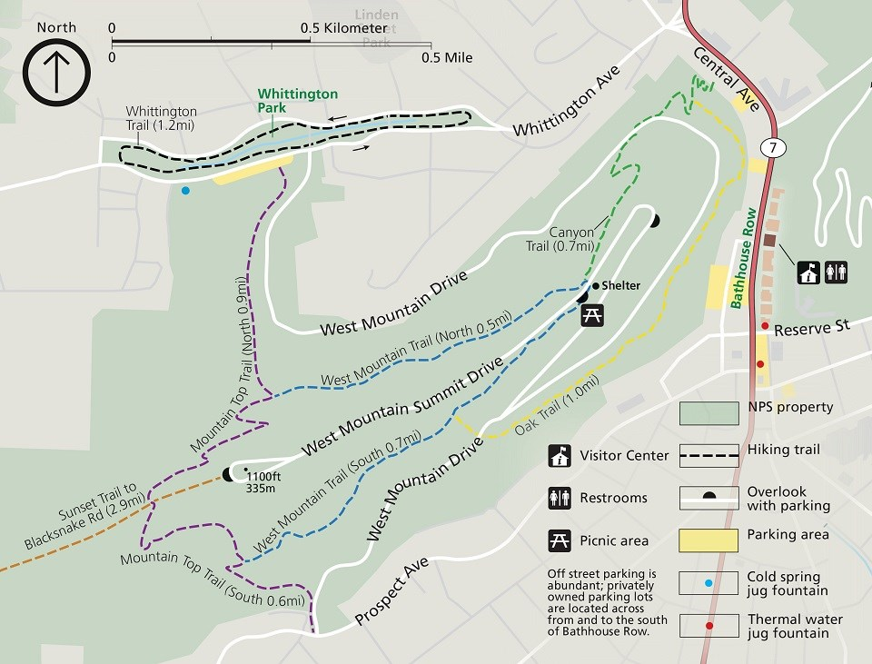 Short, interconnected trails travel up and around West Mountain. Canyon Trail connects the downtown area to the West Mountain Trails, and Mountain Top Trail connects Whittington Park to the West Mountain Trails.