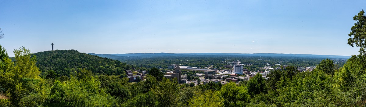 A panoramic view from up on West Mountain with downtown Hot Springs in view along with the mountain tower