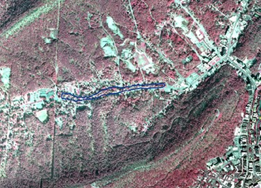 Red aerial map of Hot Springs National Park, with the Whittington Trail highlighted in blue