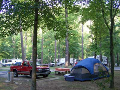 Blue tent in wooded campground with RVs in the background