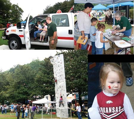 collage of four photos from event last year--children in park fire truck, children getting junior ranger information, climbing wall, young girl