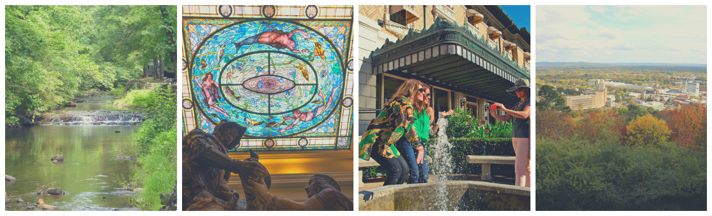 Four photo collage: Gulpha Creek, Women posing in front of the Fordyce, Stained Glass in the Bathhouse, and an overlook of Fall colors.
