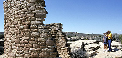Hikers visit Tower Point Ruin on the Square Tower Group trail