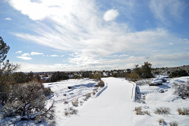Snow-covered sidewalk to canyon overlook