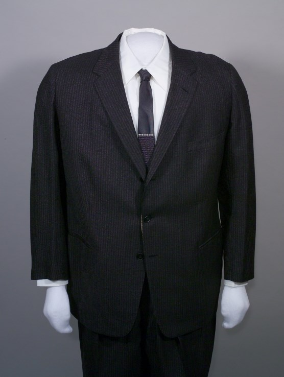 Black and gray pinstripe suit, HSTR 20539.