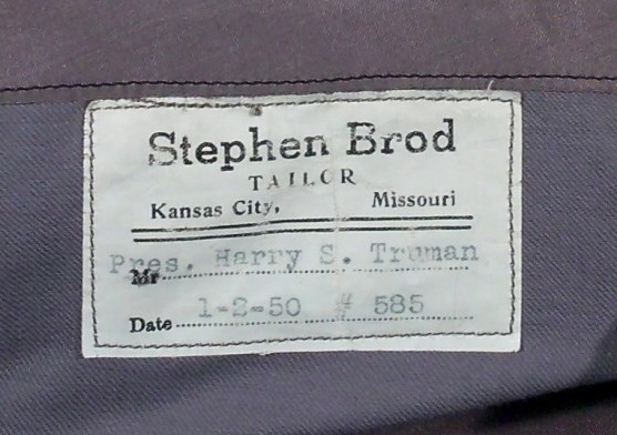 Label on inside of jacket pocket, HSTR 20588.