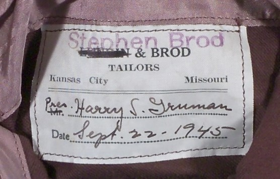 Label on inside pocket of jacket.