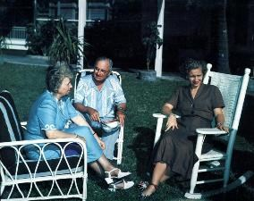President Harry S Truman, Bess Wallace Truman, and Margaret Truman outside in Key West, Florida.
