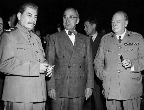 Stalin, Truman and Churchill at Potsdam Conference, 1945.