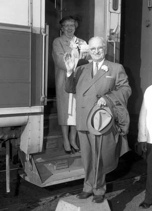 Mr. and Mrs. Truman on a train