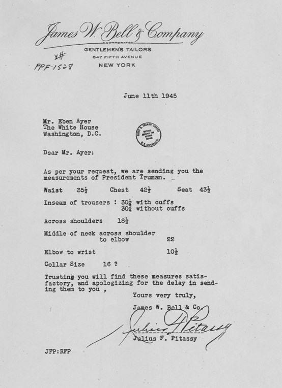 Letter, James W. Bell and Company, 1945