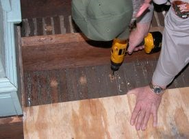 Holes are drilled into lath
