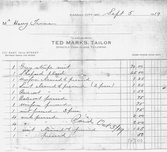 Receipt from Ted Marks, 1919.