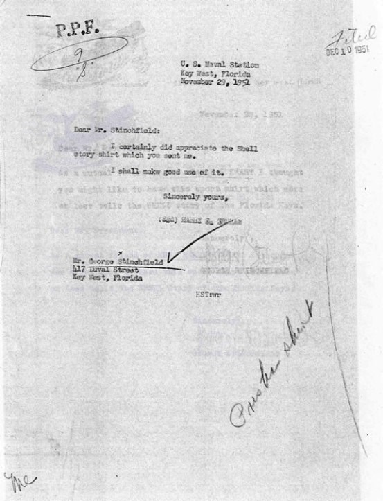 Thank you letter from Truman to George Stinchfield.