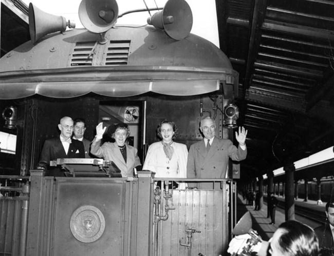 "The Truman Family Campaigning on the ""Ferdinand Magellan"" train in 1948"
