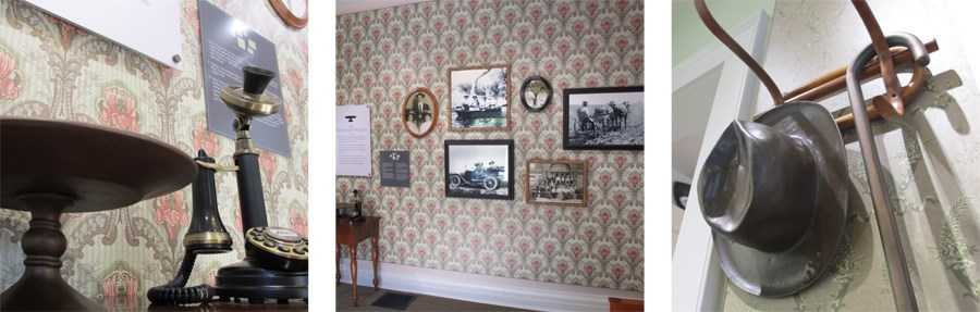 three images showing various exhibits found in the Noland House including a vintage phone, framed photographs on a wall, and a hat on a hook.