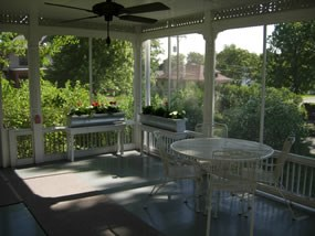 Screened-in back porch of Truman Home.