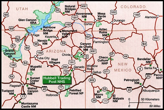 Map Of Arizona I40.Maps Hubbell Trading Post National Historic Site U S National