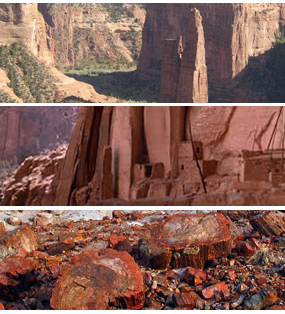Canyon de Chelly National Monument  Navajo National Monument  Petrified Forest National Park