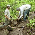 Volunteers construct trail at Devils Lake State park
